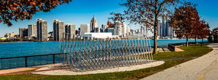 Detroit city, a view from Windsor, Ontario, Canada. stock photos