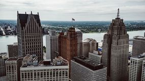 Detroit Cityscape. Aerial view of downtown Detroit Stock Images