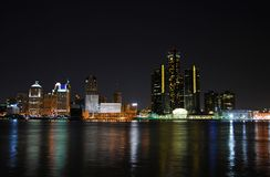 Detroit cityscape at night. Night time skyline of typical American city (Detroit royalty free stock photo
