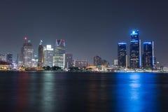 Detroit a colore di notte Fotografia Stock Libera da Diritti