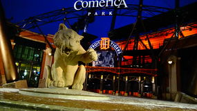 Detroit Comerica Park. In Front Tiger Mascot At Night royalty free stock photography