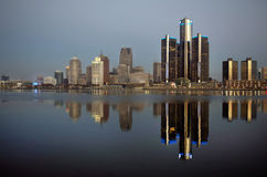 Detroit at Daybreak Panoramic November 2015. Panoramic view of Detroit at dawn in November of 2015, shot across the Detroit River from the shore of Windsor royalty free stock image