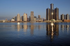 Detroit at Daybreak Panoramic November 2015. Panoramic view of Detroit at dawn in November of 2015, shot across the Detroit River from the shore of Windsor royalty free stock photos