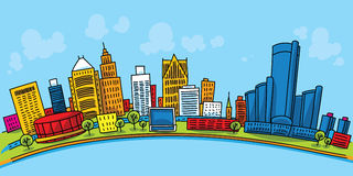 Detroit Downtown. Cartoon skyline of downtown Detroit, Michigan, USA vector illustration