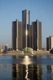 Detroit en alba noviembre de 2015 panorámico Imágenes de archivo libres de regalías