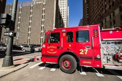 Detroit Fire Department Truck On The Streets Of Downtown Detroit stock photos