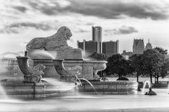 Detroit från Belle Isle Fotografering för Bildbyråer