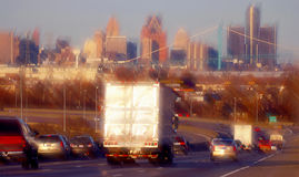 Detroit highway traffic. Freeway traffic into downtown detroit rushhour royalty free stock photography