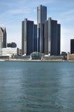 Detroit horisont Detroit River Forground Royaltyfri Foto