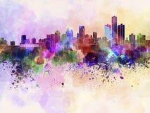 Detroit horisont i vattenfärgbakgrund Royaltyfri Bild