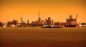 Detroit horisont på floden Arkivbild