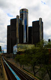 Detroit horisont som ser in mot konferensmitt och Kanada Royaltyfri Fotografi