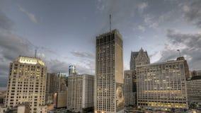 Detroit i stadens centrum solnedgång