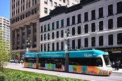 Detroit& x27; il sistema di trasporto del Q-Line di s splende Fotografia Stock Libera da Diritti