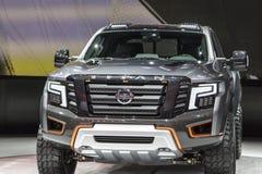 DETROIT - JANUARI 17: Den Nissan Titan Pickup lastbilen 2017 på Royaltyfria Bilder