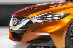 DETROIT - JANUARI 26: Det Nissan Sport Sedan begreppet på Norten Arkivfoton