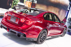 DETROIT - JANUARY 26 :The new 2014 Infiniti Q50 at The North Ame Royalty Free Stock Photo