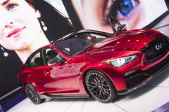 DETROIT - JANUARY 26 :The new 2014 Infiniti Q50 at The North Ame Stock Image