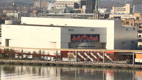 Detroit Joe Louis Arena. Detroit's Joe Louis Arena as seen from across the Detroit River on an afternoon in winter stock video footage