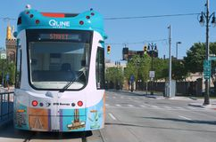 Q-Line or M-1 Rail, Detroit, Michigan. Detroit, June 1, 2017: Q-Line, M-1 Rail Car on Woodward Avenue, June 1,2017 Detroit, Michigan USA Royalty Free Stock Photography