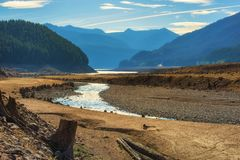 Detroit Lake Oregon. Detroit lake lower than normal due to drought like summer conditions royalty free stock photography