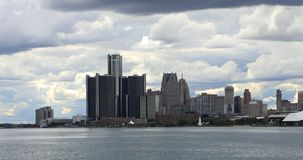 Detroit linia horyzontu od belle wyspy 4K zdjęcie wideo