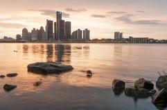 Detroit linii horyzontu zmierzch Fotografia Stock