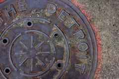 Detroit manhål Fotografering för Bildbyråer