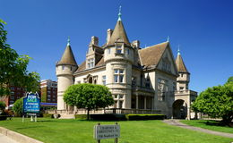 Detroit Mansion. The Hecker Smiley Mansion on Woodward Avenue in downtown Detroit. The 28,000 square-foot French chateau-inspired mansion was modeled after the Royalty Free Stock Images