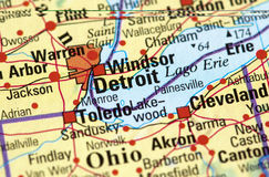 Detroit on the map Stock Photos