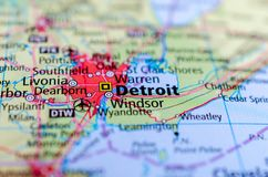 Detroit on map. Close up shot of Detroit. is a city in the state of Michigan Stock Photos