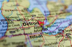 Detroit on map. Close up shot of Detroit. is the most populous city in the U.S. state of Michigan, the largest city on the United States–Canada border, and the Stock Photos