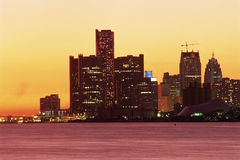 Detroit, MI skyline. View from Canada of Detroit, Michigan skyline at sunset Royalty Free Stock Photography