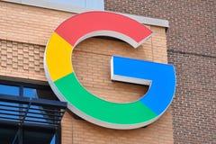 Google logo near Little Caesars Arena. DETROIT, MI / USA - JUNE 30, 2019:  Google's new office near Little Caesars arena in Detroit, whose logo is shown stock photo
