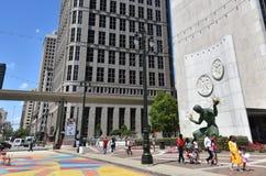 Detroit Spirit of Detroit. DETROIT, MI / USA - JUNE 30, 2019:  Visitors walk past the Spirit of Detroit statue in downtown Detroit stock images