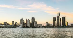 Detroit City Skyline at dusk. Detroit, MI, USA - 2nd October 2016: Detroit City Skyline at dusk as viewed from Windsor, Ontario, Canada royalty free stock images