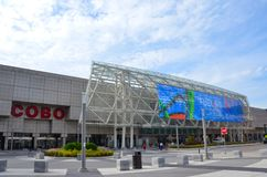 Detroit Cobo Center. DETROIT, MI / USA - OCTOBER 21, 2017: Cobo Center convention center, shown here, hosts the North American International Auto Show royalty free stock photo