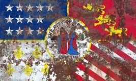 Detroit miasta dymu flaga, stan michigan, Stany Zjednoczone Americ Obrazy Royalty Free