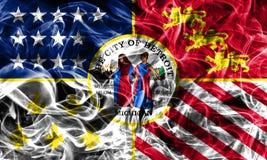 Detroit miasta dymu flaga, stan michigan, Stany Zjednoczone Americ Zdjęcie Royalty Free