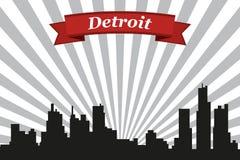 Detroit miasta linia horyzontu z promienia faborkiem i tłem ilustracja wektor