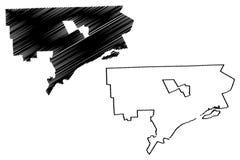 Detroit miasta mapy wektor ilustracji