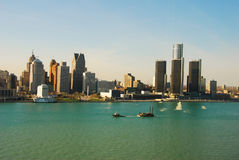 Detroit, Michigan. Detroit skyline as seen from Windsor, Ontario royalty free stock photos