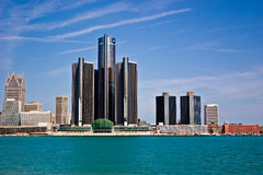 Detroit, Michigan as seen from Windsor, Ontario. A landscape image of the Detroit River and Detroit, City skyline as seen from Windsor, Ontario Canada Royalty Free Stock Image