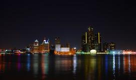 Detroit, Michigan bij nacht royalty-vrije stock foto