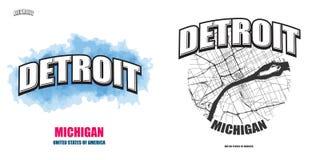 Detroit, Michigan, deux illustrations de logo illustration stock