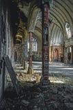 Detroit, Michigan, el 18 de mayo de 2018: Vista interior de St abandonado y dañado Inés de la iglesia en Detroit fotos de archivo libres de regalías