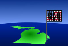 Detroit on Michigan map Stock Photos