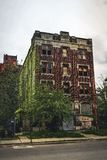 Detroit, Michigan, May 18, 2018: Abandoned and damaged single family home near downtown Detroit. Photo taken in the USA stock photography