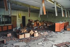 Detroit, Michigan, May 18, 2018: Interior view of abandoned and damaged George Ferris School in Detroit. Like other. Schools in Highland Park, Ferris went into royalty free stock photo