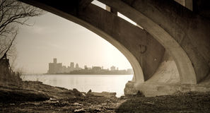 Detroit Michigan Skyline Belle Isle Bridge View royalty free stock image